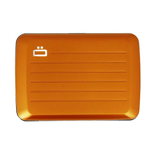 �gon Designs - Stockholm V2 Aluminium Wallet - Metal lock and water resistant - RFID Blocking Card holder - Up to 10 Cards and Banknotes - Orange