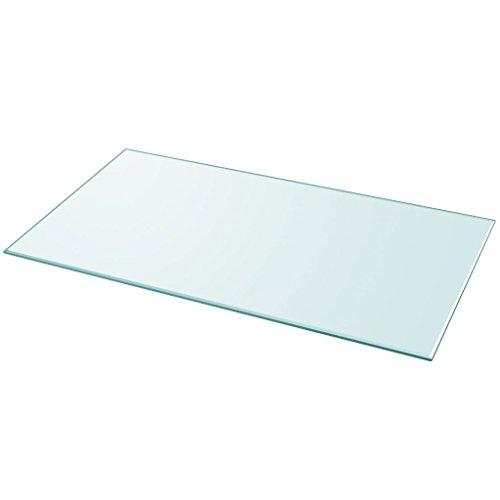 Festnight Tablero de Mesa de Cristal Templado Cuadrado - Color de Transparente Material de Vidrio, 1200x650 mm