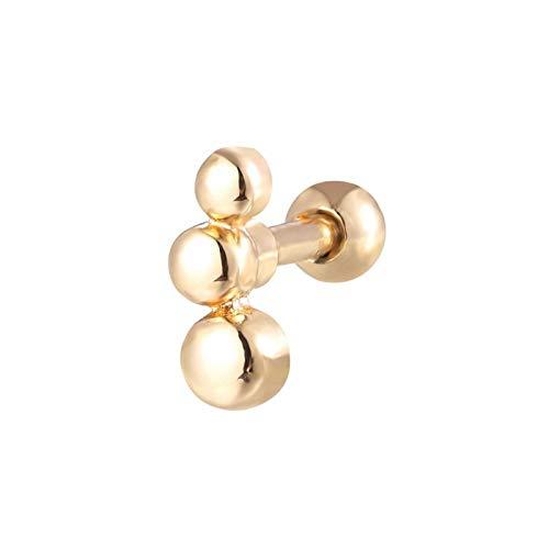 GSZP XF - Pendientes para piercing de cartílago de 16 g, 6 mm, acero quirúrgico, para mujer, accesorios de joyería para el cuerpo (color: dorado)