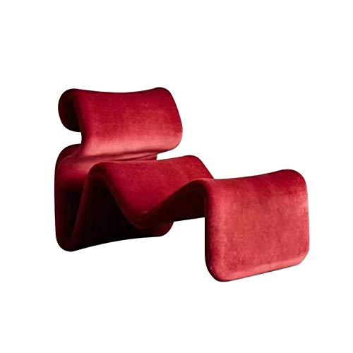 Sola serpentina formada curvada Sofá, salón de la decoración de los muebles del dormitorio del estudio de la silla de salón Esqueleto de madera azul rojo flor de