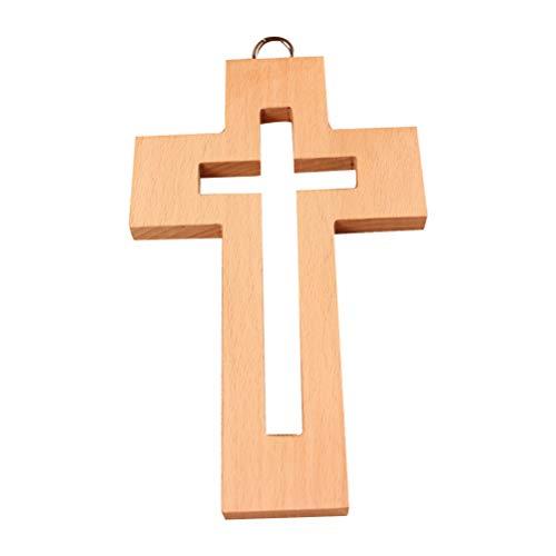 BESPORTBLE Cruz de Madera Decoraciones Colgantes de Pared Rústico Cruz Ornamento Religioso Decoración del Hogar Idea de Regalo para Cumpleaños Bodas de Pascua