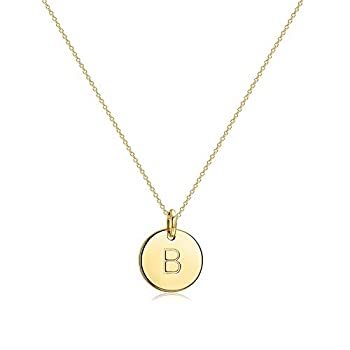 Befettly Initial Necklace Pendant 14K Gold-Plated Round Disc Double Side Engraved Hammered Choker Necklace 16.5'' Adjustable Personalized Alphabet Letter Pendant B