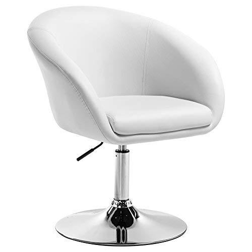 WOLTU BH24ws-1 Barhocker Barsessel 1er Set, stufenlose Höhenverstellung, verchromter Stahl, Kunstleder, gut gepolsterte Sitzfläche mit Armlehne und Rücklehne, Weiß