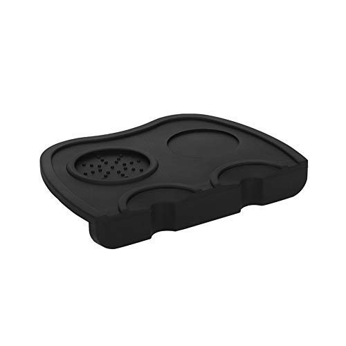 Double Slot Silicone Coffee Tamper Mat 8.2X6inch Coffee Tamping Mat, Classic Non-Slip American Silicone Mat Coffee Corner Tamping Pad Professional Coffee Bar and Family Essential (Black)