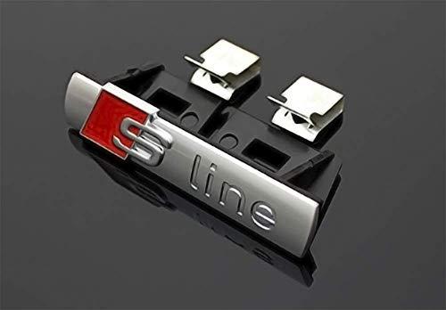 Emblema Sline deportivo para radiador. Insignia S-Line color Plateado.