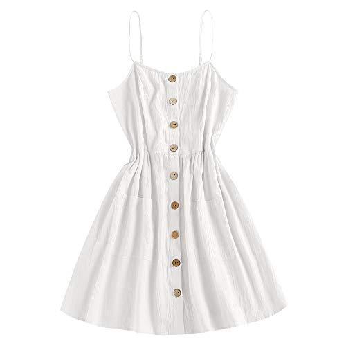 ZAFUL Women's Mini Dress Spaghetti Straps Sleeveless Boho Beach Dress (M, White -Button)