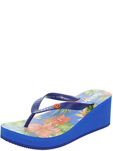 Desigual Shoes Lola Tropical, Chanclas para Mujer, Azul Lovely 5099, 39 EU