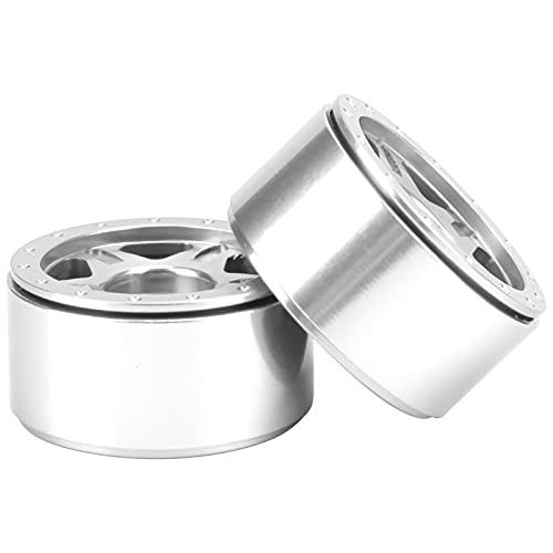 Kit de Cubo de Rueda RC, Material de aleación de Aluminio 1/24 Cubo de Rueda RC Procesamiento Estable y confiable para Coches axiales SCX24 90081 1/24 RC(Silver)