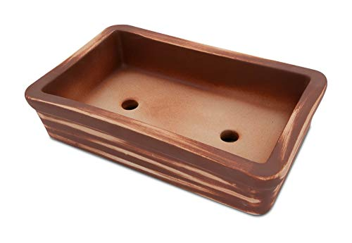 K&K Bol à bonsaï rectangulaire en céramique de qualité supérieure Rouge terre cuite 29 x 18 x 7 cm