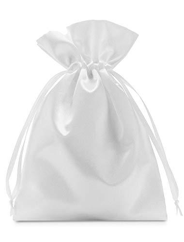 10 bolsas de satén con cordón para cerrar, tamaño 30x20 cm, bolsita de satén, envoltorio elegante para regalos, joyas, navidad, cumpleaños y bautizos (blanco)
