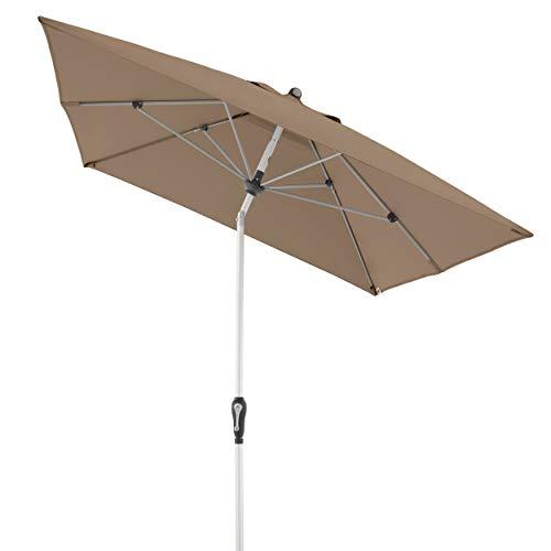 Doppler 461456846AZ Aluminium Crank Umbrella SL-AZ, Rechteckiger Sonnenschirm für Balkon/Terrasse, Knickbar, Greige Taupe, 190x290 cm
