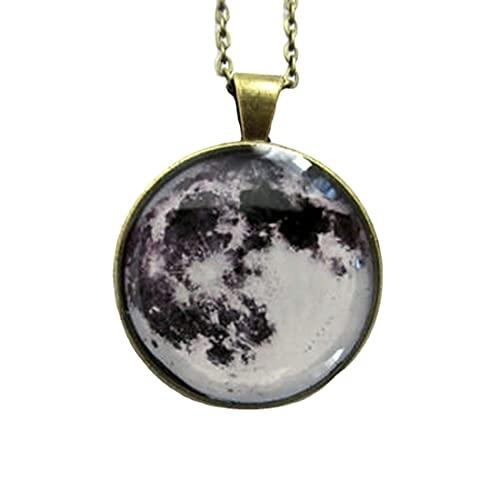 Collar de luna llena, colgante de luna, galaxia espacial, joyería de luna gris, colgante del espacio, joyería del sistema solar, collar de la luna, colgante de la luna