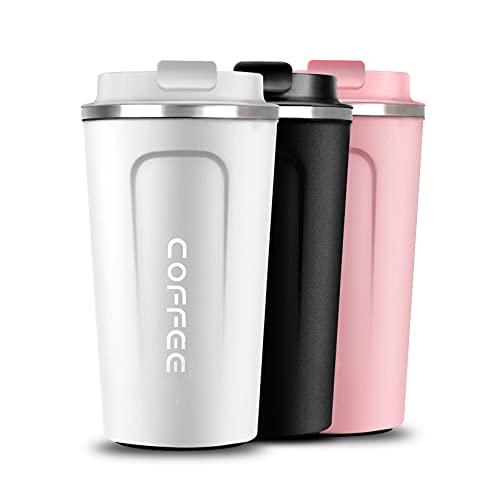 Taza de café termo, taza termica reusable, termo para cafe stainless steel, para café, té, jugo (blanco, 510ml)