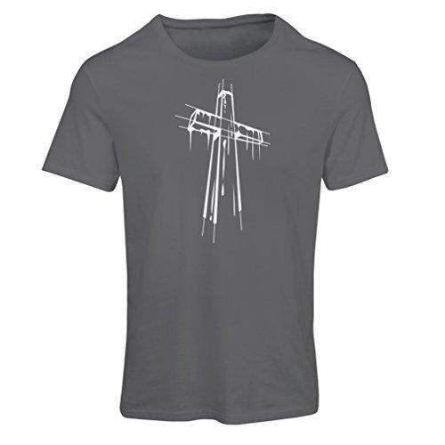 lepni.me Camiseta Mujer angustiada Cruz Santa - Ideas de Regalos religiosos. Ropa de Religión Cristiana, Resurrección de Jesús (Medium Grafito Multicolor)
