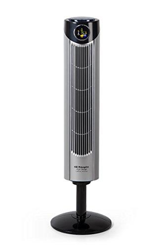Orbegozo TWM1015 Ventilador de torre iónico, mando a distancia, 3 modos de ventilación, display digital, función temporizador, 3 velocidadessilencioso, rotación 80ºC, 45 W, plastico, Gris/Negro