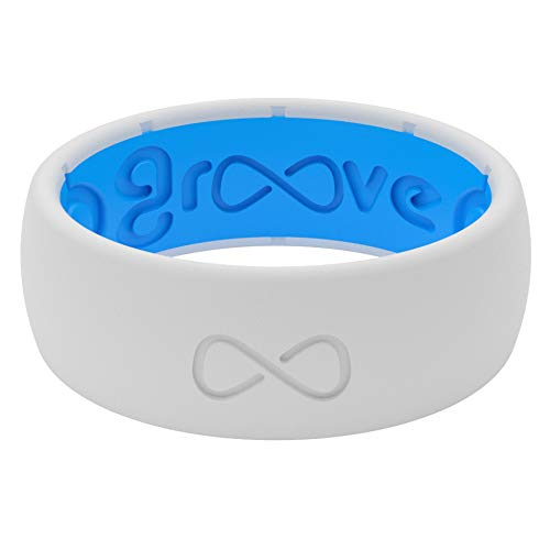 Groove Life Silicone Wedding Ring for Men - Breathable Rubber Rings for Men, Lifetime Coverage, Unique Design, Comfort Fit Mens Ring - Original Solid Snow Size 9