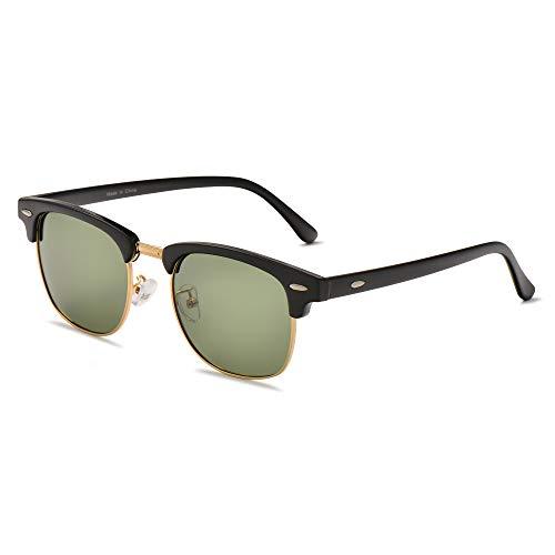 LUENX Men Semi Rimless Polarized Sunglasses Women UV 400 Protection Grey green Lens Classic Frame 51MM,with Case