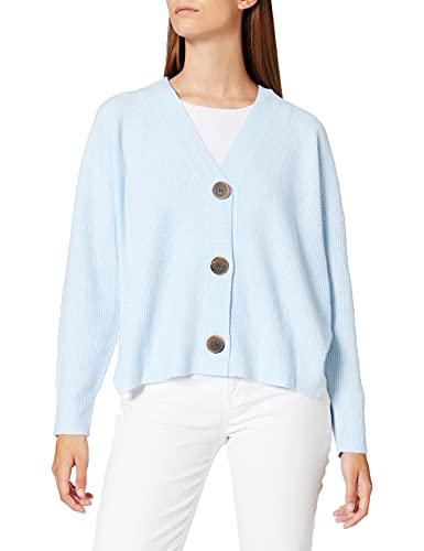 Marca Amazon - find. Stitch Cardigan - chaqueta punto Mujer, Azul (Soft Blue), 42, Label: L