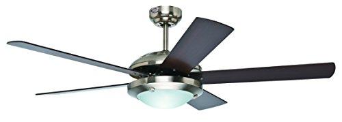 Hunter Fan 21767 Ventilador, 1 luz, níquel cepillado, 5 aspas, 52 pulgadas, color chocolate