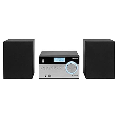 MEDION P64187 Micro Audio System Kompaktanlage (DAB+, PLL UKW Radio, Bluetooth, USB Anschluss, AUX, 2x50 W) Silber