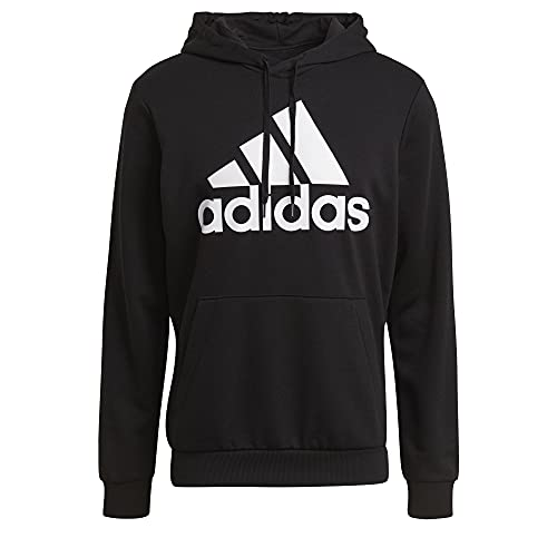 adidas Mens BL French Terry Hoodie Black/White X-Large/Tall