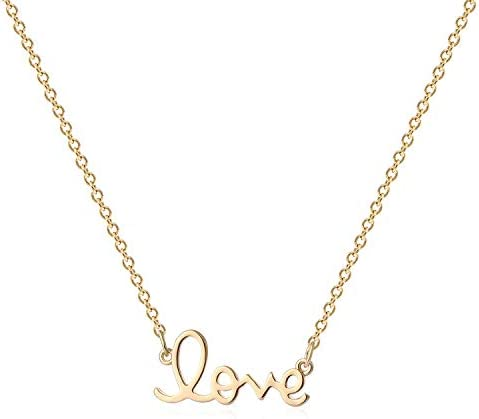 MYEARS Women Word Love Necklace Gold Cursive Pendant 14K Gold Filled Chain Dianty Boho Beach product image
