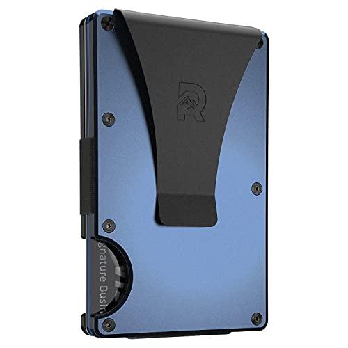 The Ridge Slim Minimalist Front Pocket RFID Blocking Aluminum Metal Wallets for Men with Money Clip (Navy)