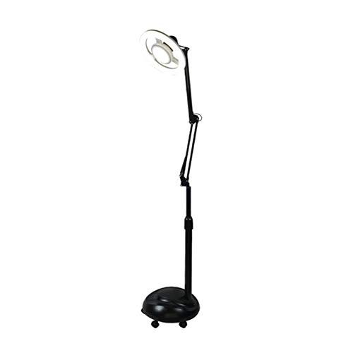 Yeah-hhi Lampe Loupe LED Lampadaire sans Ombre Lumière Froide Loupe 360 Degrés Rotation Tête De Lampe 38W Trois Couleurs Dimmable,Noir