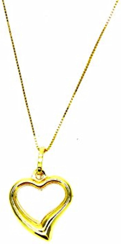 Pegaso Gioielli–Kette Gold gelb 18kt Venezianerkette mit Herz offen–Anhnger Herz Damen Mdchen Mdchen