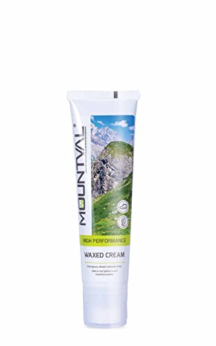 Mountval Wachscreme Creme zur Pflege und Imprägnierung von Trekkingschuhen aus Leder | Inklusive Schwamm zum Auftragen (transparent)