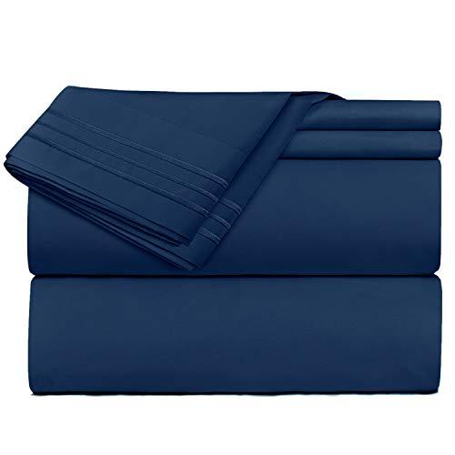 Clara Clark Premier 1800Collection Hoja de Cama Set, Juego de sábanas 4 Piezas, Navy Blue, Tamaño King