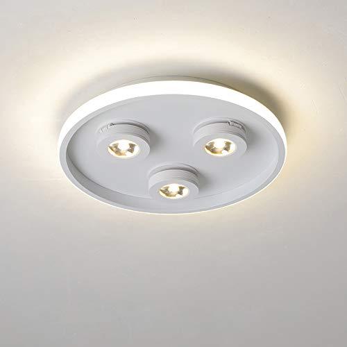 Lámpara de techo orientable, 3 focos, LED, blanco cálido, 3000 K, ajustable, para interior, pared, 35 W, 28 x 5 cm (blanco)