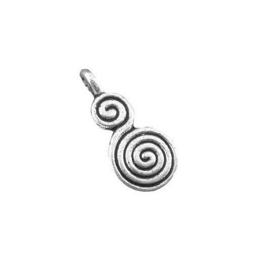 Plata envejecida imports 10 x 17 mm colgante Charm (celta espiral) - (ZX03350) - charming Beads