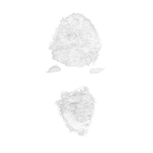 Milageto Nuevo Conjunto de Peluca Y Barba de Disfraz de Papá Noel Super Deluxe Navidad Peluca Blanca Barba