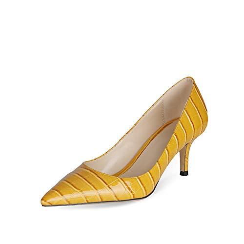 Bewinch Zapatos Tacón Mujer, Altura del Tacón 6,5 Cm, Zapatos Individuales De Charol De Tacón Medio Puntiagudo para Mujer, Zapatos De Corte De Trabajo para Party Club,Amarillo,EU34