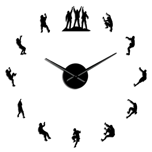 Climbers 3D DIY relojes de pared sin marco, reloj de pared grande, decoración de apartamentos, espejo silencioso, pegatinas de pared, amantes de la escalada, reloj de pared (negro, 37 pulgadas)