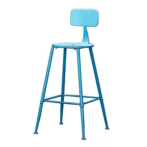 DFREW Silla de Estilo Industrial de la Vendimia Taburetes Taburete de la Barra Soporte Metálico de Diseño de la Cocina Restaurante Bar Taburete Alto Azul (Sentado Altura: 71Cm)