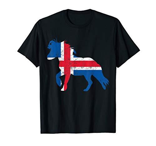 Islandpferde Tshirt Icelandic Horse mit Islandflagge