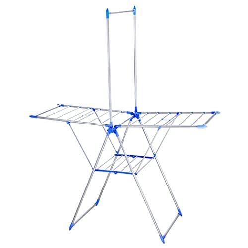 Tendedero de Ropa Extensible de Acero, Tendedero Tipo Torre Plegable y Antideslizante para Interior y Exterior, 3 Niveles Tendedero Balcon Compacto, Soporte para Artículos Pequeños. P004jw(Color:Blu