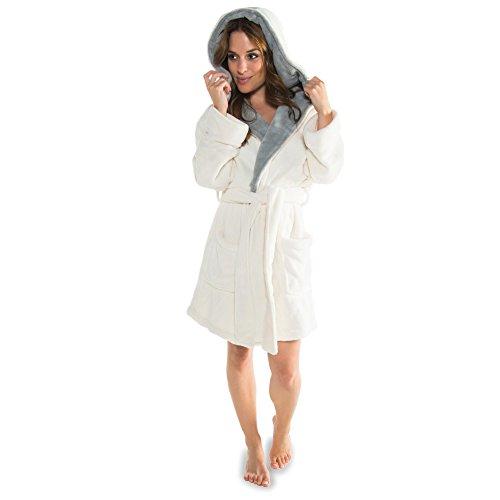 CelinaTex Miami Damen Bademantel mit Kapuze XS Creme weiß grau Coral Fleece Morgenmantel Mikrofaser Saunamantel