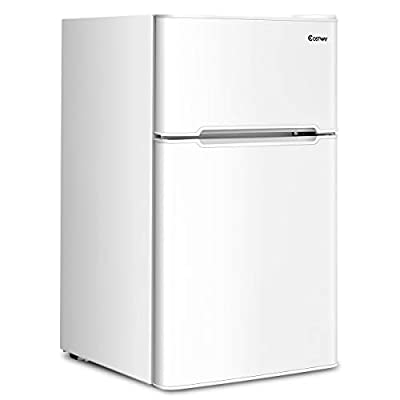 COSTWAY Compact Refrigerator, 3.2 cu ft. Unit 2-Door Freezer Cooler Fridge with Reversible Door, Removable Glass Shelves, Mechanical Control, Recessed Handle for Dorm, Office, Apartment (White)