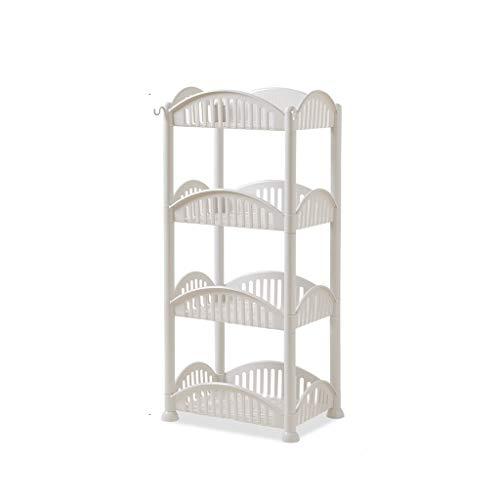 Kitchen Storage Rack, Regale Für Küche, Waschbecken Küche Badezimmer Rechteckige Mehrschichtige Storage Rack Roller Kunststoff Bodenstehend (Color : White)