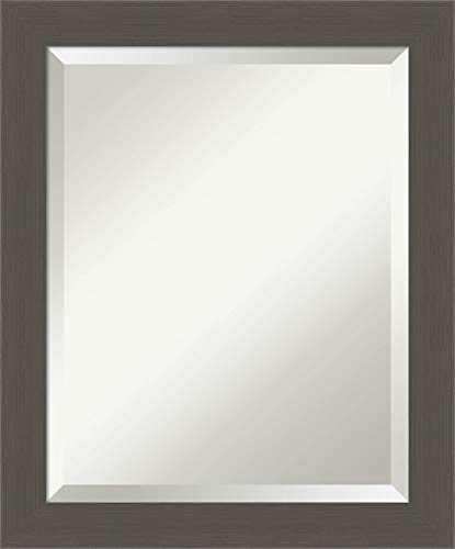 Framed Vanity Mirror | Bathroom Mirrors for Wall | Brushed Pewter Mirror -