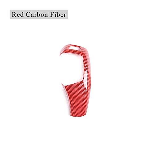 JJJJD LHD für BMW E60 E70 für E71 5 Serie X5 X6 Carbon Faser Auto Innenausrüstung Umschaltknopf Abdeckung Dekoration Auto Getriebekopfabdeckung (Color : Red Carbon Fiber)