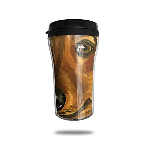 Taza de café de viaje con impresión 3D, taza de té aislada, taza de agua, taza de viaje para hombres, mujeres y niños, acuarela Daschund
