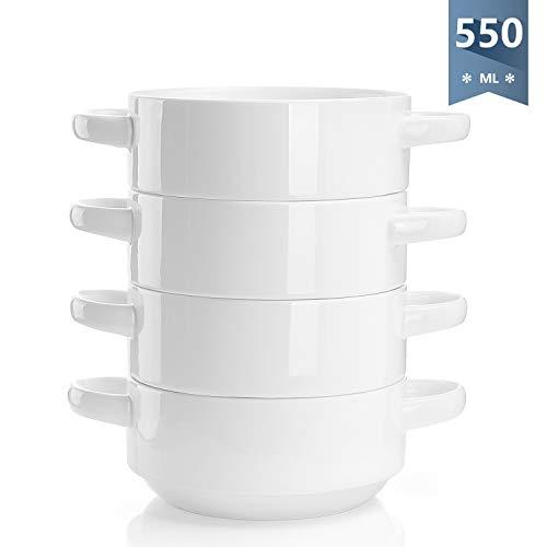 Sweese 108.101 Suppentassen mit Henkel, 4er Set Suppenschüsseln aus Porzellan, 550 ml