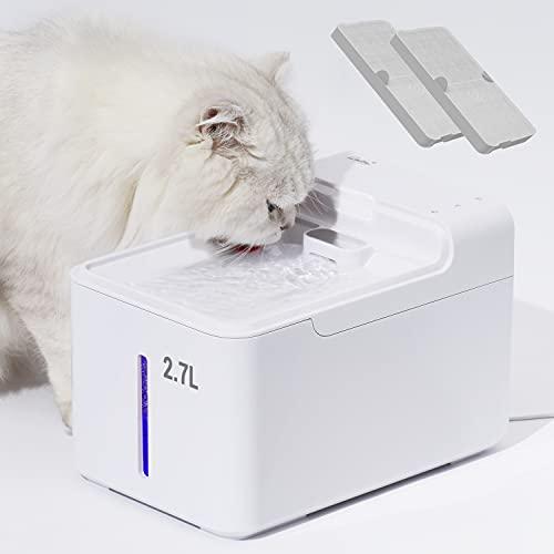 LAIKA 2,7L Trinkbrunnen für Katze 29 dB Super leise Automatischer Wasserbrunnen, Katzenbrunnen mit Duale-Modi, UV-Licht, Schalter und 2 Aktivkohlefilters für Katze und kleine Hunde