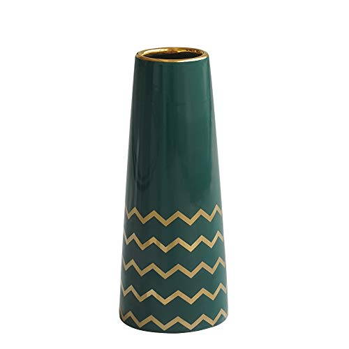HCHLQLZ 25cm Verde Dorado Decorativos Modernos Ceramica Jarrones de Flores para Mesa de Comedor Sala de Estar Idea Regalo para Cumpleanos Boda Navidad
