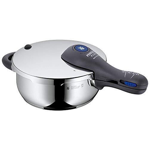 WMF Perfect Plus Schnellkochtopf 3,0l mit Einsatz, Schnelltopf 22 cm, Cromargan Edelstahl poliert, Induktion, 2 Kochstufen, Einhand-Kochstufenregler