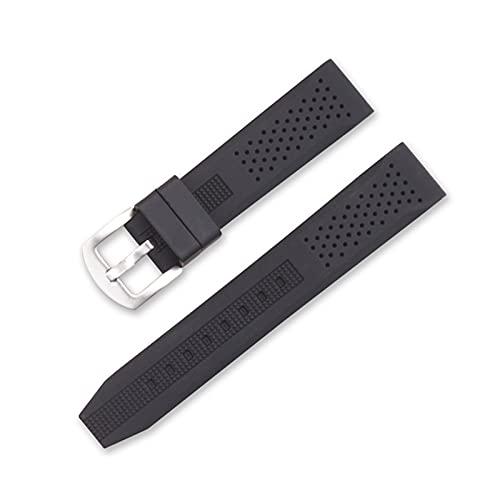 DANFENG Reloj de Silicona Ajuste for el Engranaje S2 S3 Relojes Huami Relojes Impermeable Sport Reloj Correa Reloj de Reloj Pulsera Accesorios 20 mm 22mm (Band Color : Black, Band Width : 20mm)